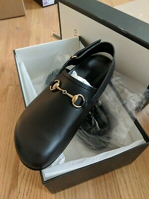 bf2dfe75d GUCCI mens black back-strap RIVER leather HORSEBIT Clogs shoes NIB Auth $680