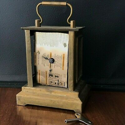 Antique Carriage Clock Vintage Rare Case Brass Cornice Shape REPAIR Key Old
