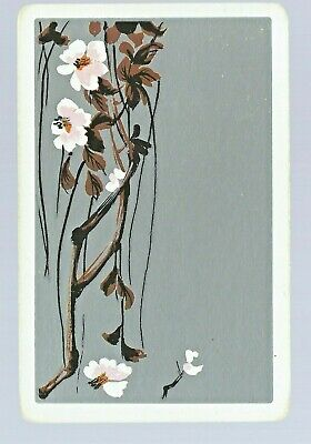 Vintage Swap Playing Card   Flower with Silver background