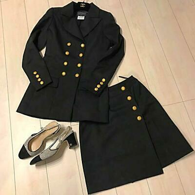 Authentic CHANEL Coco Button Set Up Suits Skirt Set Black Size S / 36 Used F/S