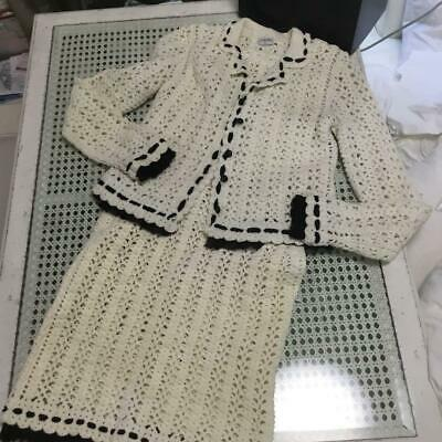 Authentic CHANEL Set Up Suits One Piece Dress Off White Size M / 36 Used F/S