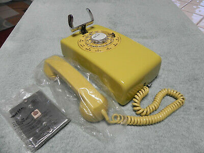 1958 Yellow Western Electric Bell System 554 Rotary Wall Telephone-Restored-Vtg