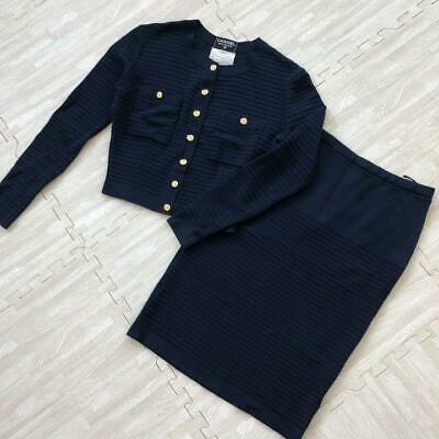 Authentic CHANEL Knit Set Up Suits Skirt Coco Botton Navy Size M / 38 Used F/S