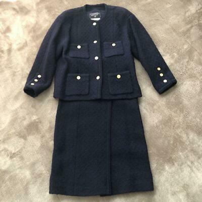Authentic CHANEL Tweed Set Up Suits Skirt Set Navy Blue Size S / 36 Vintage F/S