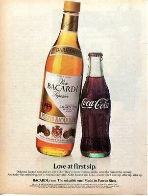BACARDI RUM & Coke Coca Cola Advertisement Vintage Magazine