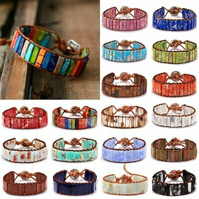7 Chakra Bracelet Women Handmade Natural Stone Tube Beads Leather Bangle Jewelry