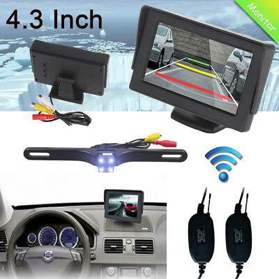 "4.3"" TFT LCD Car Rearview Monitor for DVD GPS + Wireless Reverse Backup Camera"
