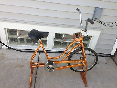 621922f45cc RARE Vtg. 1966 SCHWINN Gold Chrome Stationary Bike Huret Speedo Collector  USA