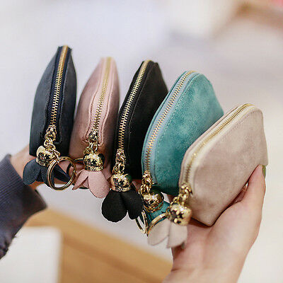 Leather Small Mini Wallet Card Key Holder Zip Women Coin Purse Clutch Bags Gifts