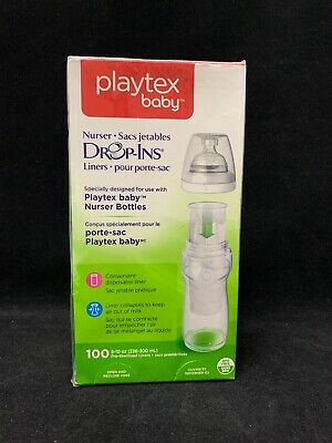 100 Ct. Brand New Playtex Baby Nurser Drop-Ins Baby Bottle Disposable Liners