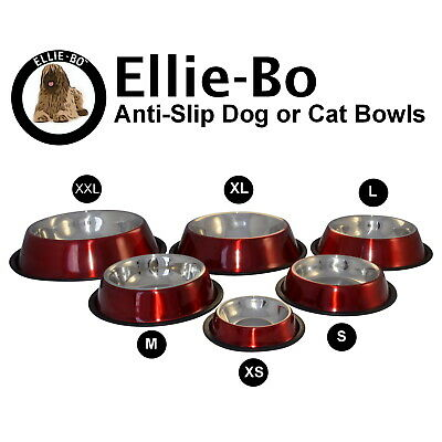 Ellie-Bo Red Anti Skid Dog or Cat Feeding Food Water Bowl Available In 6 Sizes