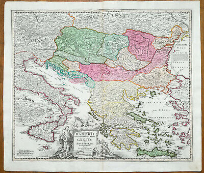 Homann Original Engraved Map Danube Hungary Serbia Greece Bulgaria Romaniia 1720