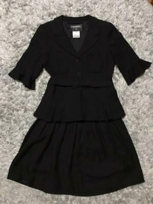 Authentic CHANEL Set Up Suits Short Sleeves Skirt Black Size S 36/34 Used F/S