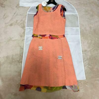 Authentic CHANEL Set Up Suits Sleeveless Skirt Coral Pink Size M / 38 Used F/S