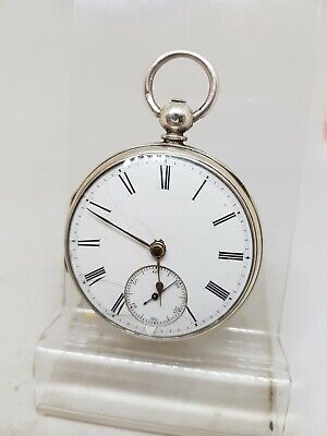 Antique solid silver gents fusee London pocket watch 1865 working ref607