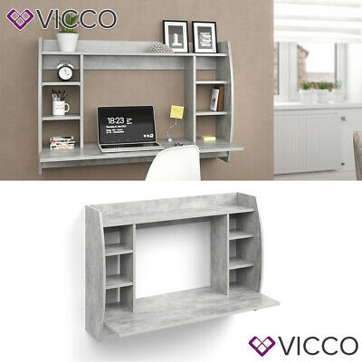 Vicco Escritorio pared Max Estante pared Mesa pared Mesa oficina PC Gris