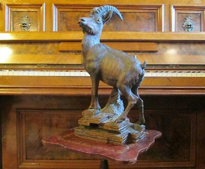 19C. Antique Orig. German Swiss Black Forest Wood Carved Mountain Goat Xtr.rare
