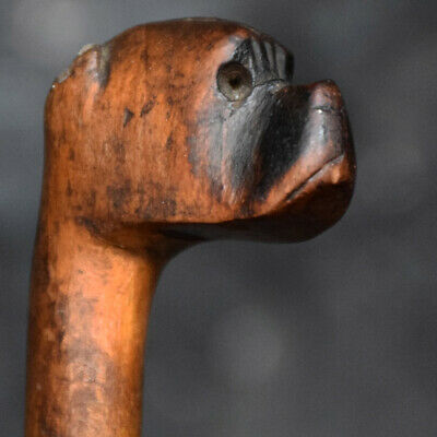 Folkart hand carved early 20th century swagger stick