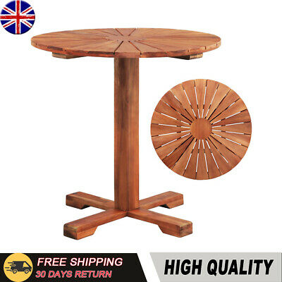 Pedestal Table Solid Acacia Wood 70x70 cm Round Outdoor Living Room Dining Stand