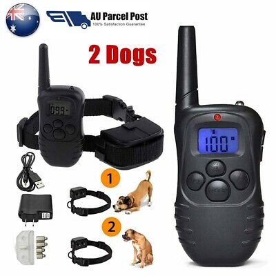 Electric LCD Rechargeable Anti-Bark Shock E-Collar 2 Dog Training Remote Control