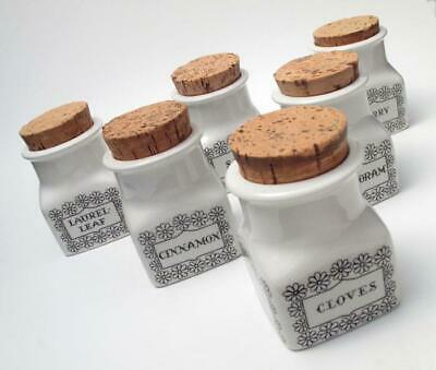 6x VINTAGE ARABIA FINLAND SPICE JARS CANNISTERS MID CENTURY SCANDINAVIAN DESIGN