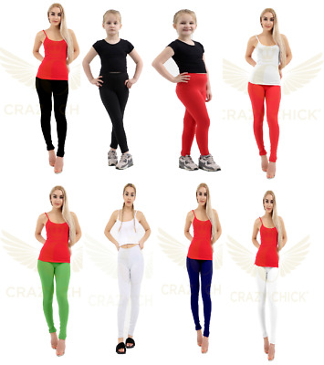 Ladies Deluxe Quality Girls Cotton Leggings Full Length All Colors & Sizes 1- 24