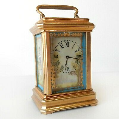 Miniature French Sevres Carriage Clock Painted Porcelain Panels