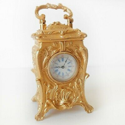 Miniature French Gilded Ormolu Carriage Clock