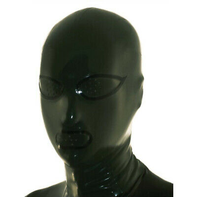 Latex Hood Open Mesh Eyes and Mesh Mouth Rubber Mask Club Party Wear Costume
