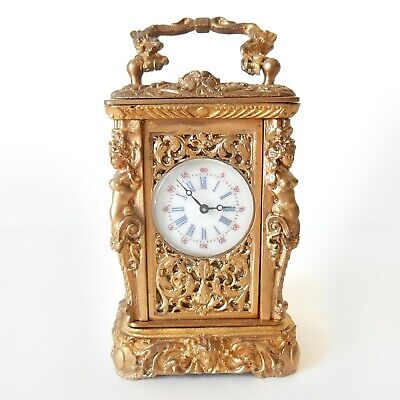 Miniature French Gilt Ormolu High Relief Nude Lady Carriage Clock