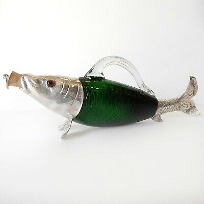 Victorian Glass Fish Trout Decanter Jug Silverplate