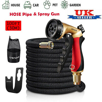 Expandable Garden Hose Flexible 100FT Pipe Expanding With 7 Function Metal Spray