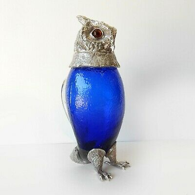 Victorian Cobalt Glass Owl Decanter Pitcher Jug Silverplate