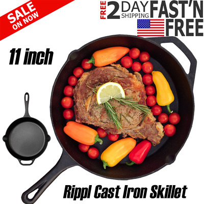 "Cast iron skillet 12"" Pre Seasoned Frying Cookware Pot Oven Cooking Fry Pan"