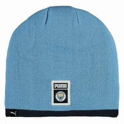Puma Official Unisex Manchester City FC DNA Reversible Football Beanie Hat Navy