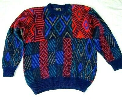 Coogi Cosby Vintage Sweater Size M Jumper Pure Wool Retro Unisex Crazy Colours