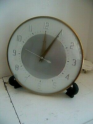 Vintage Metamec Two Tone Electric Wall Clock Retro 50s 60s Kitchen Mid Century