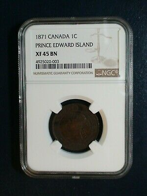 1871 Canada LARGE CENT NGC XF45 BN PRINCE EDWARD ISLAND 1C Coin PRICED TO SELL!