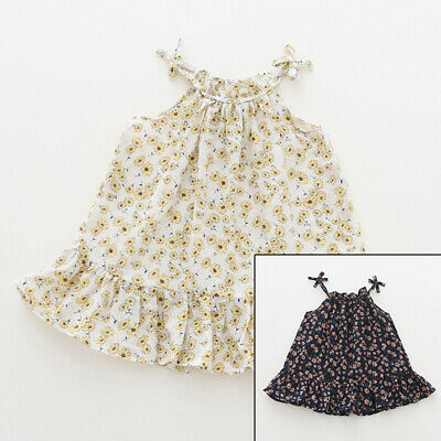 Kid Girls Flowers Dresses Casual Summer Cute Child Baby Sleeveless Party Dress