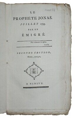 1793 PREDICTIONS OF THE FRENCH REVOLUTION History CHARLES-FRANCOIS BONNAY