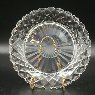 Hocking Waterford Waffle Crystal Depression Glass Salad Plates 4 Vintage