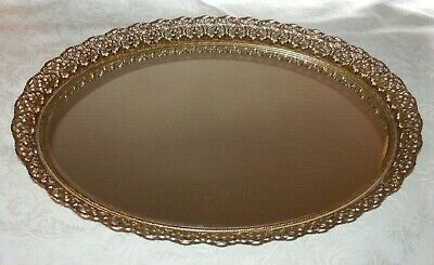 Vintage GOLD Filigree Dresser MIRROR Oval Vanity TRAY Hollywood Regency Wall