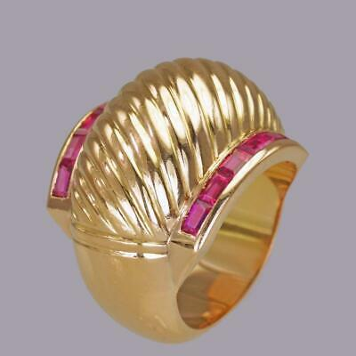 18ct Gold Retro Ruby Cocktail Ring 1940's Large Antique Ring Art Deco Dress Ring
