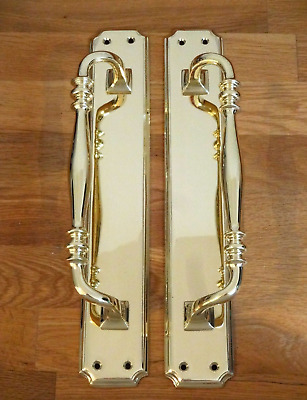"Brass Edwardian Door Pull Handles 15"" Heavy Plates Knobs Grab Antique Vintage"