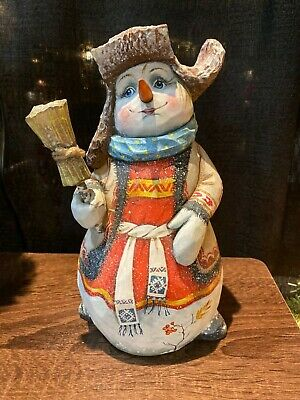 Russian Hand Carved Snowman Very Beautiful Piece of Art Signed Gift/ Collection
