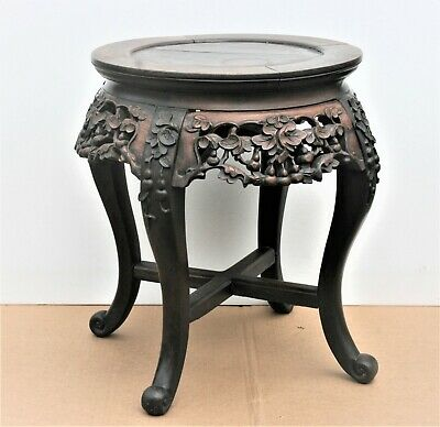 19Th C.chinese Carved Hardwood Table Vase Or Planter Stand