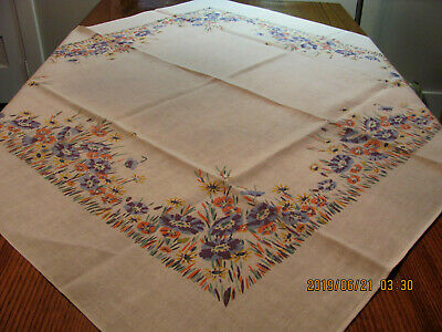 Vintage Stylized Floral Daisy Anemone Blue Orange Yellow Square Linen Tablecloth