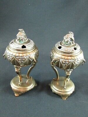 Pair of Chinese Brass Tripod Censers c.1910-20