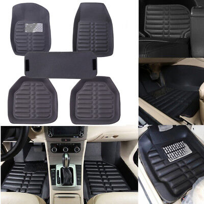 5X/set universal grey car floor mat auto floor liner leather carpet mat Non-slip