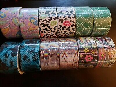 DUCK Duct Tape Lot 12 NEW Snakeskin Floral Cheetah Paisley Geometric Lace Green